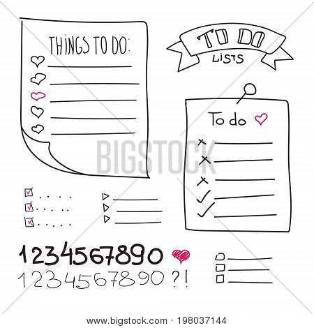 Collection of vector isolated outline hand drawn check to do list, numbers, pin, bullet, check mark and check box in a doodle sketch cartoon style. Set of paper note with task plan.