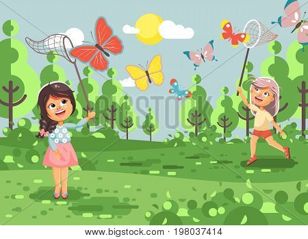 Stock vector illustration cartoon character lonely children, young naturalist, biologist two girls catch colorful butterflies with net, scoop-net, hoop-net on nature outdoor background in flat style