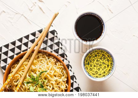 Delicious Instant Noodles on Wooden Rustic Table