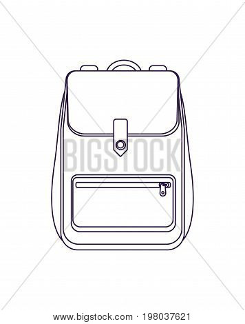 Travel backpack icon vector illustration isolated on white background. Tourist back pack in flat design. Camp and hike bag and knapsack.
