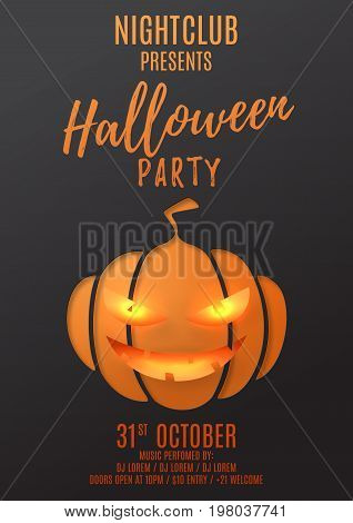 Dark Party poster template for halloween. Paper art style vector illustration. Festive card with pumpkin smile. Invitation to nightclub.