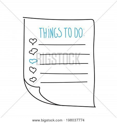 Vector isolated outline hand drawn check to do list, bullet, check mark and check box in a doodle sketch cartoon style. Paper note with task plan with heart
