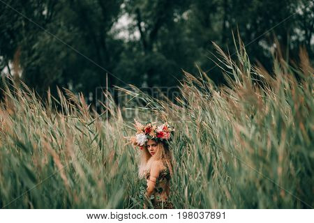 Beautiful little girl in image of nymph with floral head wreath goes among cane and looks back.