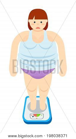 Fat woman stands on scales isolated icon. Fatty female vector illustrations isolated on white background. Unhealthy lifestyle and overweight concept.