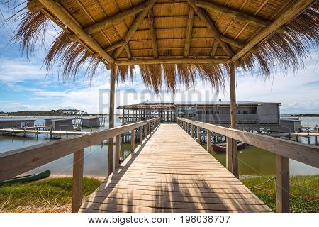 Jose Ignacio Uruguay March 08 2016 - Floating bungalows on Uruguayan eco-lake Garzon emptied for the winter