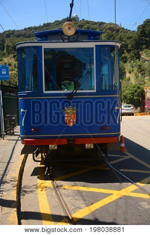Blue tramway in Barcelona. The oldest tram in Europe