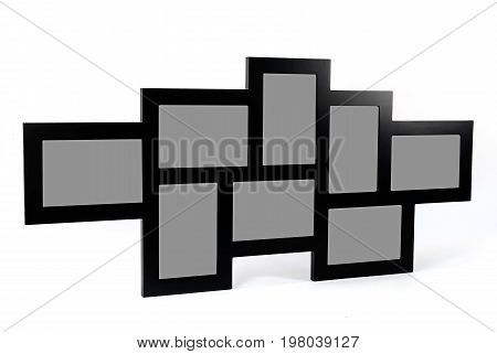 Black decorative photo frame. Multi frame 8 eight set with empty space