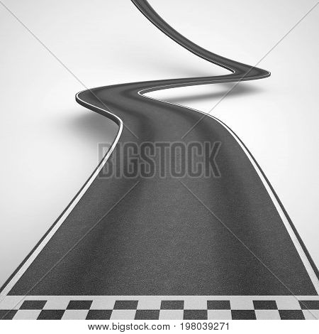 Winding road on white background rise up to reach the targets. 3D Rendering