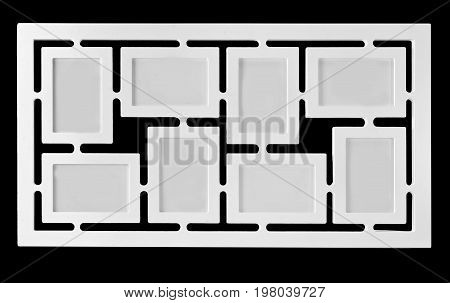 White decorative photo frame. Multi frame 8 eight set with empty space isolated black background