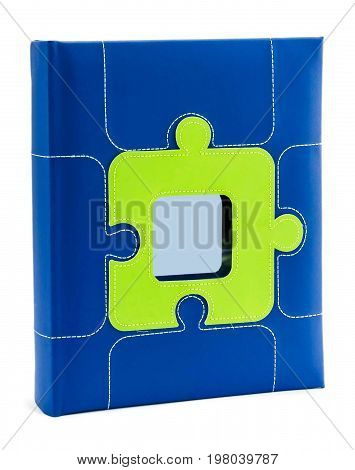 Blue photo album with blank place for messege or photo on white isolated background