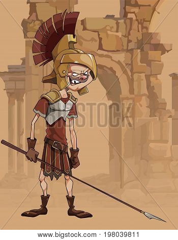 Cartoon funny man in a gladiators clothing in ruins