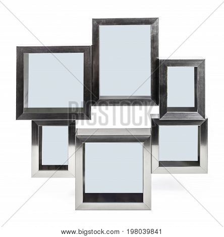 Brown wooden photo frame with empty space
