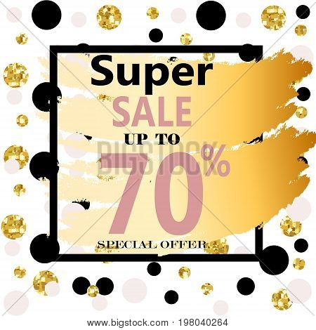 Super Sale. Web Banner with Gold Glitter on White Background. Trendy Vector Templates for fashion store. Special Offer Sale Header.