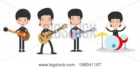 four kids in a music band, Children playing Musical Instruments,person playing different musical instruments on white background,Vector Illustration