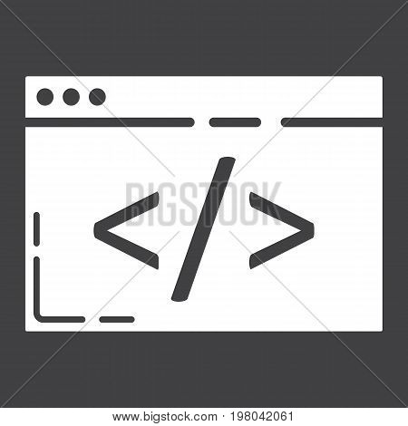 Custom coding glyph icon, seo and development, browser programming sign vector graphics, a solid pattern on a black background, eps 10.
