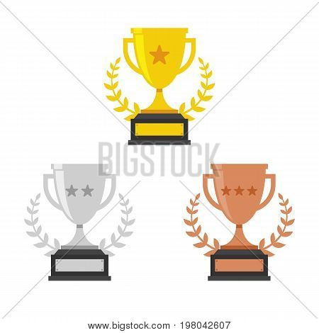 Gold Silver and Bronze Trophy Cup. Vector Flat Trophy Icon with stars and laurel wreath