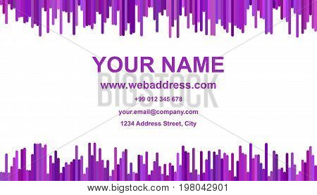 Modern abstract business card template design - vector name card illustration with vertical stripes in purple tones on white background