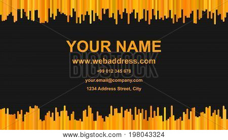Modern business card template design - vector id card illustration with vertical stripes in XYZ tones on black background
