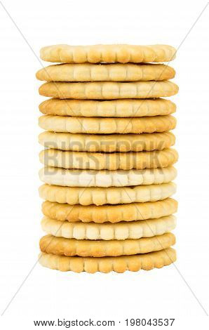 Stack Of Crackers Isolated On White