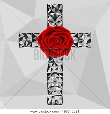 Flower red rose and low poly cross . Freemason and spiritual symbols. Alchemy medieval religion occultism spirituality and esoteric. Vector design. Geometric triangular modern illustration.