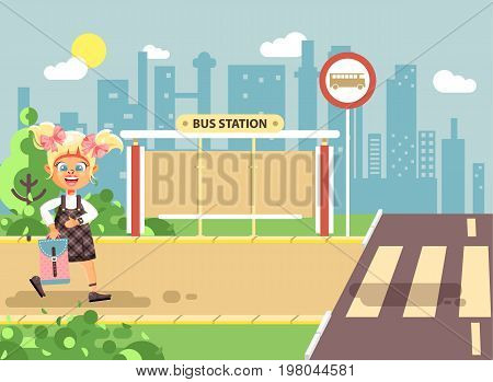 Stock vector illustration cartoon characters child, observance traffic rules, lonely blonde girl schoolchild, pupil go to road pedestrian crossing, on bus stop background, back to school in flat style