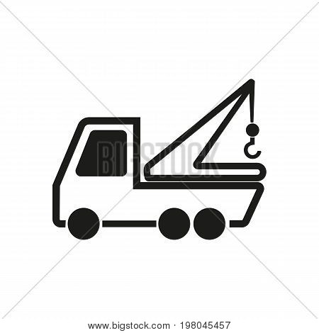 Icon of crane truck. Vehicle, transport, lifting load. Transportation concept. Can be used for topics like construction, building, machine