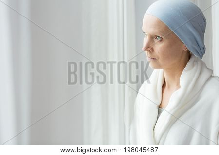 Worried Woman With Cancer