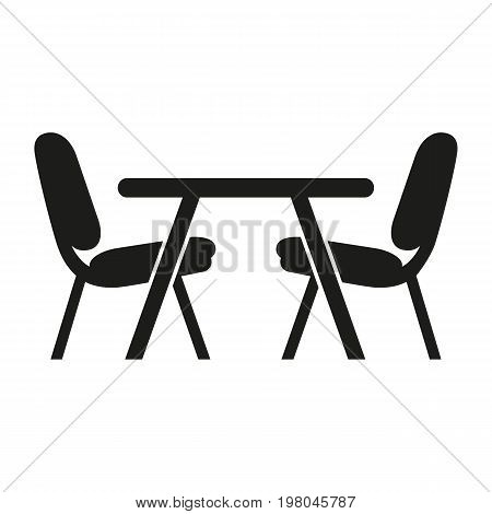 Icon of dinette place. Table, chairs, food and drink establishment. Kitchen concept. Can be used for topics like canteen, kitchen, dining room