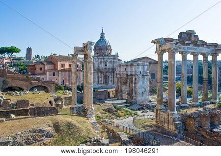 Rome view on the Fori Imperiali from Piazza del Campidoglio