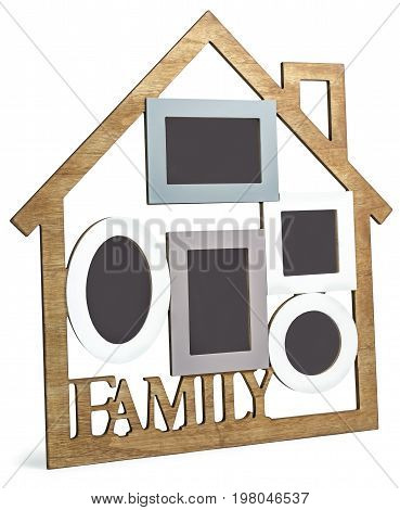 Photo Frame House consists of five frames and the text Family.