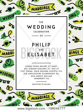 Cute Wedding Invitation template cartoon style. Vector illustration