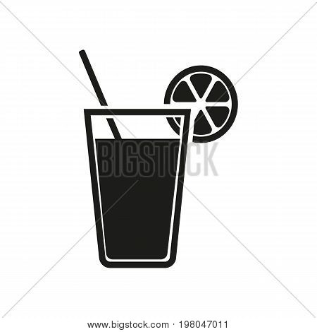 Icon of juice glass. Refreshment, drink, orange, lemonade. Beverages concept. Can be used for topics like alcohol, party, summer