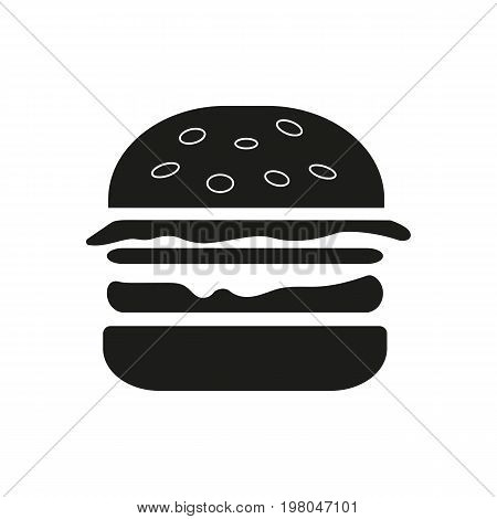 Icon of juicy hamburger. Dinner, eating, restaurant. Kitchen concept. Can be used for topics like fast food, unhealthy food, restaurant