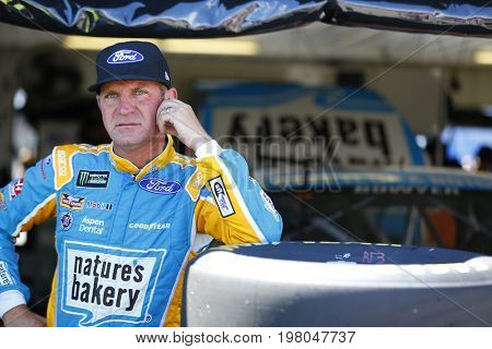 July 29, 2017 - Long Pond, Pennsylvania, USA: Clint Bowyer (14) hangs out in the garage during practice for the Overton's 400 at Pocono Raceway in Long Pond, Pennsylvania.