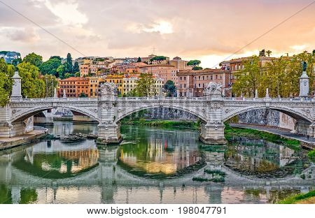 Rome view of Lungotevere Vaticano from S.Angelo bridge
