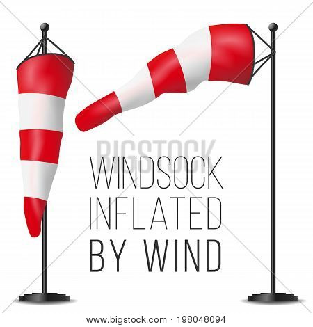 Windsock Vector. Realistic Meteorology Windsock Inflated By Wind. Red And White