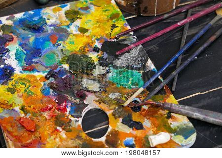 Art Work Shop Color Palette With Brushes.