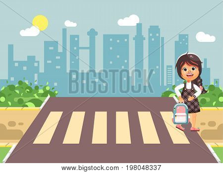 Stock vector illustration cartoon characters child, observance traffic rules, lonely brunette girl schoolchild, pupil go to road pedestrian crossing, on city background, back to school in flat style