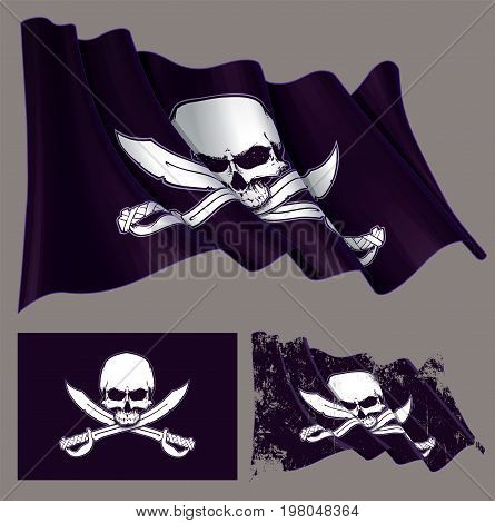 Vector illustration of the waving pirate flag jaw-less skull and crossed swords. Each element on a separate layer with well-defined groups and subgroups. Easy to edit colors via Global Color