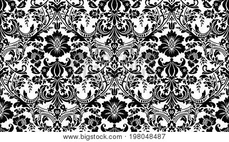 Vector seamless damask pattern. Black and white image. Rich ornament, old Damascus style pattern for wallpapers, textile, Scrapbooking etc.