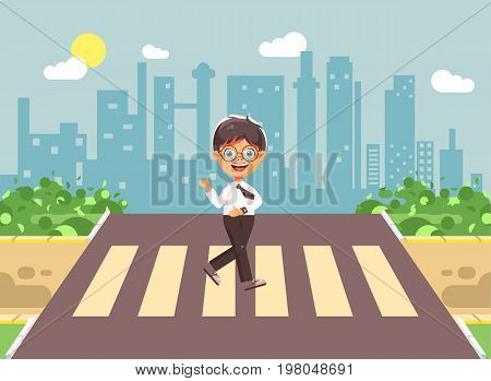 Stock vector illustration cartoon characters child, observance traffic rules, lonely brunette boy schoolchild, pupil go to road pedestrian crossing, on city background, back to school in flat style