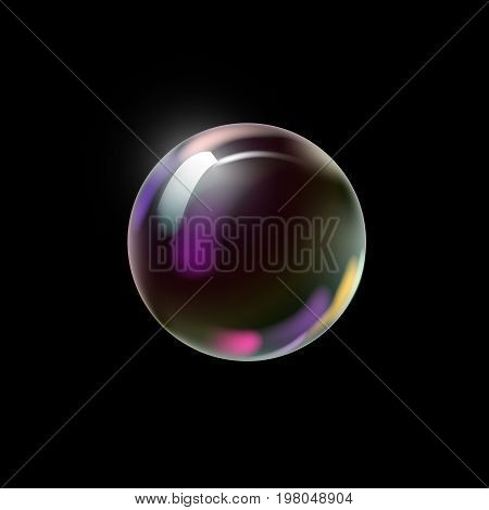 Transparent colorful soap bubble on a dark background. Vector Illustration.