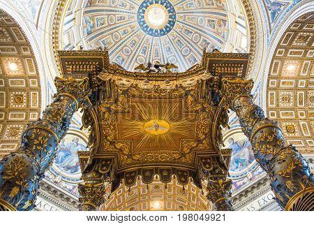 Rome Italy - September 29 2008: The interior of San Pietro in Vaticano cathedral the Bernini's altar baldachin