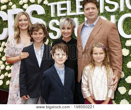 LOS ANGELES - AUG 1:  Zoe Perry, Montana Jordan, Iain Armitage, Annie Potts, Reagan Revord, Lance Barber at the CBS TCA Party 2017 at the CBS Studio Center on August 1, 2017 in Studio City, CA