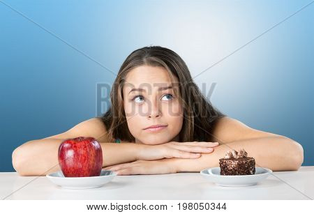 Cake apple woman choice makes sweet food low fat