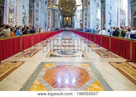 Rome Italy - September 29 2008: The interior of San Pietro in Vaticano cathedral