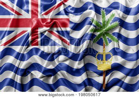 Ruffled waving British Indian Ocean Territory flag