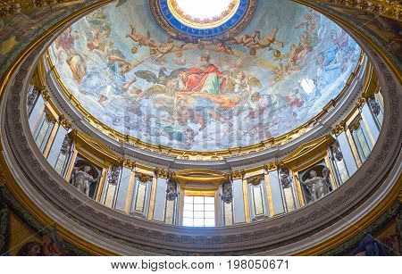 Rome Italy - September 29 2008: A dome in the interior of San Pietro in Vaticano cathedral