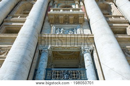 Rome the S.Pietro in Vaticano cathedral entrance detail