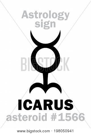 Astrology Alphabet: ICARUS, asteroid #1566. Hieroglyphics character sign (single symbol).